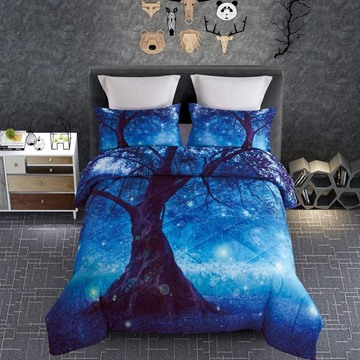 Charming Tree and Blue Light Printed 4-Piece 3D Bedding Sets/Duvet Covers