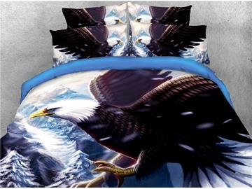 Bald Eagle Expanded his Wings Printed 4-Piece 3D Bedding Sets/Duvet Covers