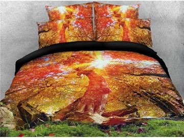 Maple Tree Forest Nature View Printed 4-Piece 3D Bedding Sets/Duvet Covers