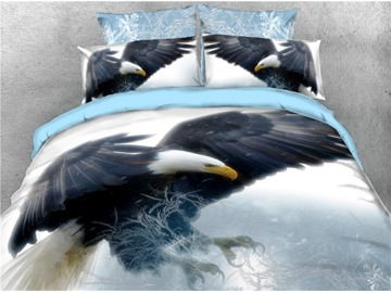 Bald Eagle Expanded his Wings White Printed 4-Piece 3D Bedding Sets/Duvet Covers