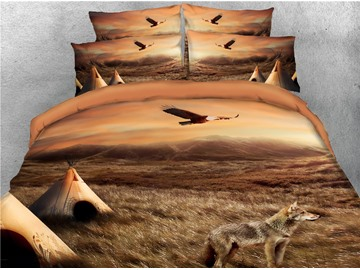 Bald Eagle Flying Over Prairie and Wolf Printed 4-Piece 3D Bedding Sets/Duvet Covers