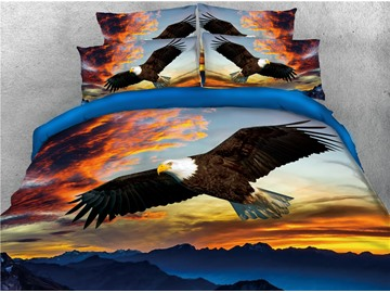 Flying Bald Eagle upon Mountain by Sunset Digital Printed 4-Piece 3D Bedding Sets/Duvet Covers