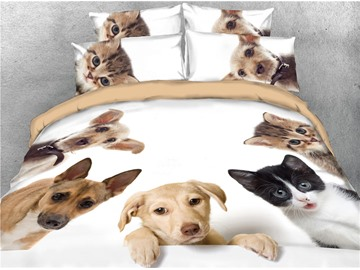 Cats and Dogs Printed Cotton 4-Piece 3D Bedding Sets/Duvet Covers