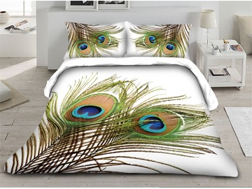 Peacock Feathers Printed 3D 4-Piece Bedding Sets/Duvet Covers