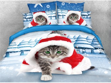 Cat Draped in a Blanket and Snow Scenery Printed 4-Piece 3D Christmas Bedding Sets/Duvet Covers