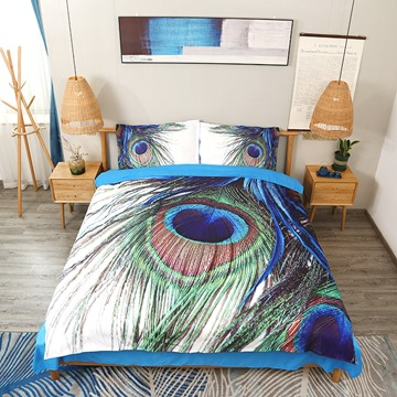 Peacock Feathers Duvet Cover Set Animal Printed 3D 4-Piece Bedding Sets