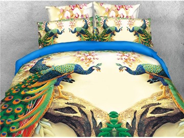 Peacocks Standing on the Tree Printed 3D 4-Piece Bedding Sets/Duvet Covers