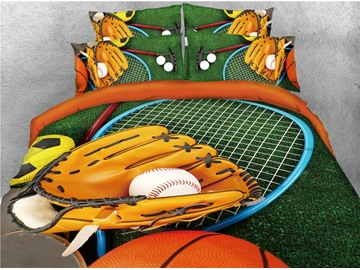 Catcher's Mitt and Green Grass Printed 4-Piece 3D Baseball Bedding Sets/Duvet Covers