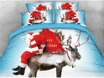 Santa Carrying Presents and Reindeer Printed 3D 4-Piece Bedding Sets/Duvet Cover