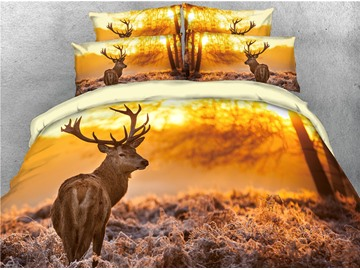 Lonely Reindeer and Sunset Scenery Printed 3D 4-Piece Bedding Sets/Duvet Cover