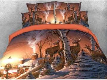 Reindeer and House Printed 3D 4-Piece Bedding Sets/Duvet Cover
