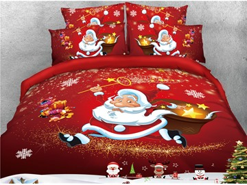 Happy Santa and Gifts Red Printed 4-Piece 3D Christmas Bedding Sets/Duvet Covers