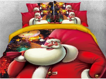 Smiling Santa Claus Carrying Gifts Printed 4-Piece 3D Bedding Sets/Duvet Covers