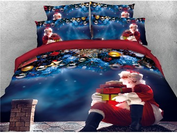 Santa Holding Christmas Gifts and Chimney Printed 4-Piece 3D Bedding Sets/Duvet Covers