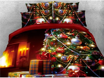 Christmas Tree with Decorations and Present Boxes Printed 4-Piece 3D Bedding Sets/Duvet Covers