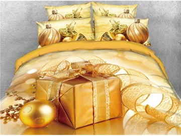 Golden Christmas Present Box and Ball Printed 4-Piece 3D Bedding Sets/Duvet Covers