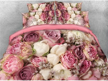 Bouquets of Rose Flowers Printed 4-Piece 3D Bedding Sets/Duvet Covers