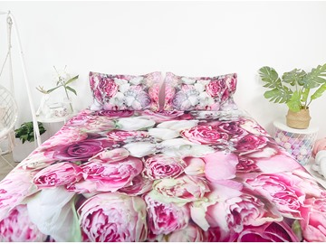 Bouquets of Rose Flowers Printed 4-Piece 3D Bedding Set Duvet Cover Set Ultra-soft No-fading Polyester Twin Full Queen King