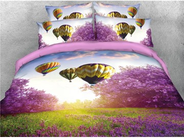 Hot-air Balloon and Purple Flower Printed 4-Piece 3D Bedding Sets/Duvet Covers