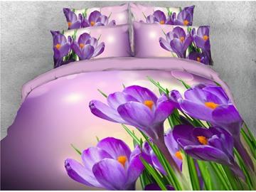 Purple Fresh Flowers Printed 4-Piece 3D Bedding Sets/Duvet Covers