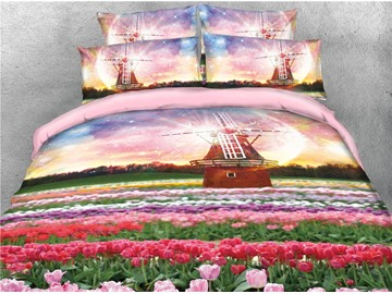 Tulips are Blooming Everywhere and Windmill Printed 4-Piece 3D Bedding Sets/Duvet Covers