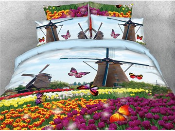 Windmill and Purple Tulips Butterfly Digital Printed 4-Piece 3D Bedding Sets/Duvet Covers