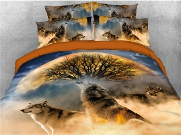 Wolves Howling and Tree Printed 4-Piece 3D Bedding Sets/Duvet Covers