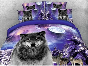Wolves Moon and Snow-covered Scenery Purple Printed 4-Piece 3D Bedding Sets/Duvet Covers