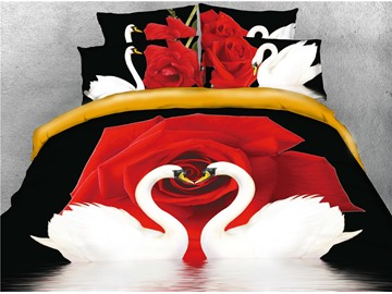 White Couple Swans and Red Rose Printed 4-Piece 3D Bedding Sets/Duvet Covers