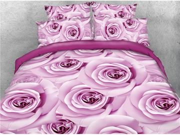 Light Purple Roses Printed Polyester 4-Piece 3D Bedding Sets/Duvet Covers
