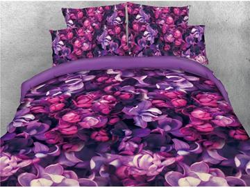 Purple Iris Flower Printed 4-Piece Cotton 3D Bedding Sets/Duvet Covers