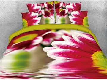 Red Flower and Water Printed Cotton 4-Piece 3D Bedding Sets/Duvet Covers