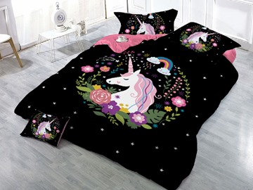 Sleepwish Unicorn and Flower Printing 3D 4-Piece Black Bedding Sets/Duvet Covers