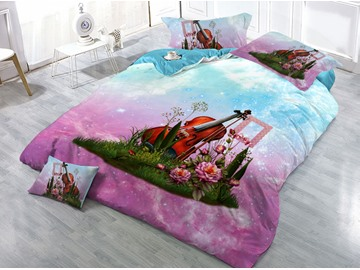 Guitar and Floral Printed 4-Piece 3D Pink Bedding Sets/Duvet Covers