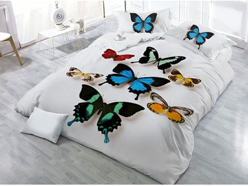 Vivid Butterflies Printed 4-Piece 3D Bedding Sets/Duvet Covers