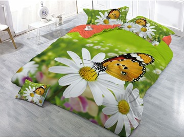 Butterfly and Daisy Printing 4-Piece 3D Green Bedding Sets/Duvet Covers