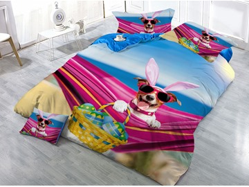 Dog Wearing Sunglasses Printing 4-Piece 3D Bedding Sets/Duvet Covers