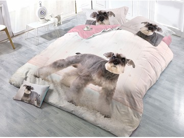 Lovely Dog Printed Cotton 4-Piece 3D Bedding Sets/Duvet Covers
