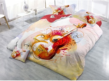 Cool Red Guitar Printed 4-Piece 3D Bedding Sets/Duvet Covers