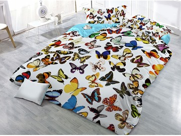 Multi Color Flying Butterflies 4-Piece 3D Bedding Sets/Duvet Covers
