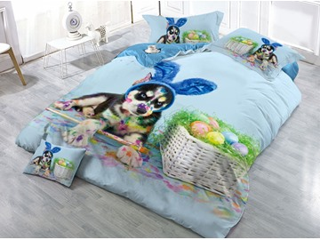 Dog and Eggs Printed 4-Piece 3D Bedding Sets/Duvet Covers