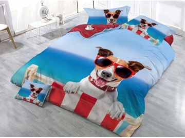 Dog With Sunglasses Printed 4-Piece 3D Blue Bedding Sets/Duvet Covers