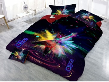 Cool Guitar Music Printed 4-Piece 3D Bedding Sets/Duvet Covers