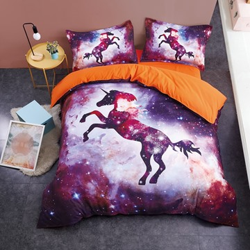 Unicorn and Blinking Stars Galaxy Printed 3D 4-Piece Bedding Sets/Duvet Covers