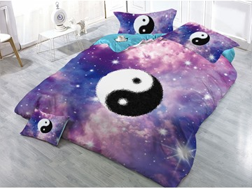 Black and White Yin Yang and Galaxy Printed 3D 4-Piece Bedding Sets/Duvet Covers