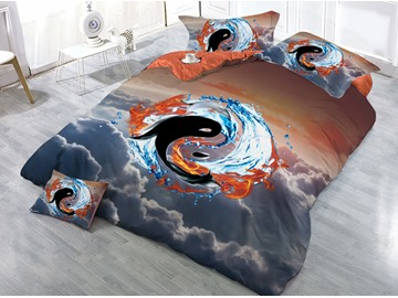 Fire and Water Yin Yang Pattern and Cloud Printed 3D 4-Piece Bedding Sets/Duvet Covers