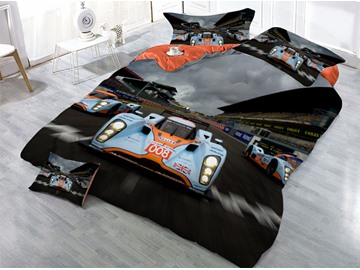 Race Track and Racing Car Printed 4-Piece 3D Bedding Sets/Duvet Covers