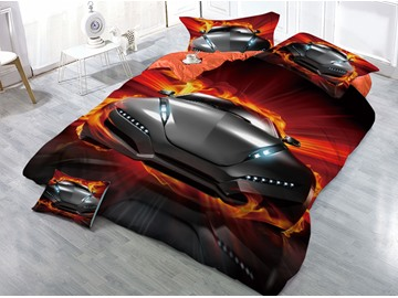 Cool Sports Car with Fire Printed 4-Piece 3D Bedding Sets/Duvet Covers