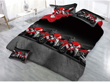 Red Motorcycle Race Printed 4-Piece 3D Bedding Sets/Duvet Covers