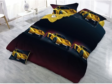 Yellow Sports Car Printed 4-Piece 3D Bedding Sets/Duvet Covers